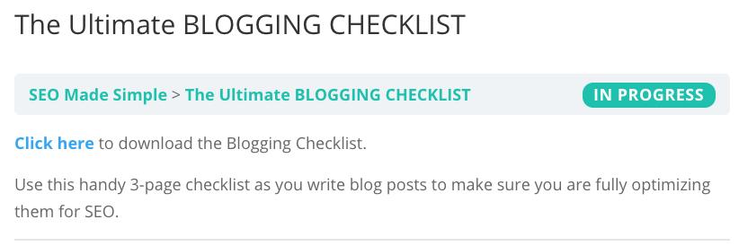 Blogging Checklist Screenshot
